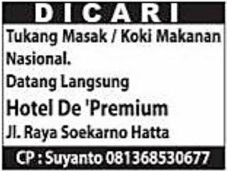 Lowongan Kerja Hotel De 'Premium Palembang