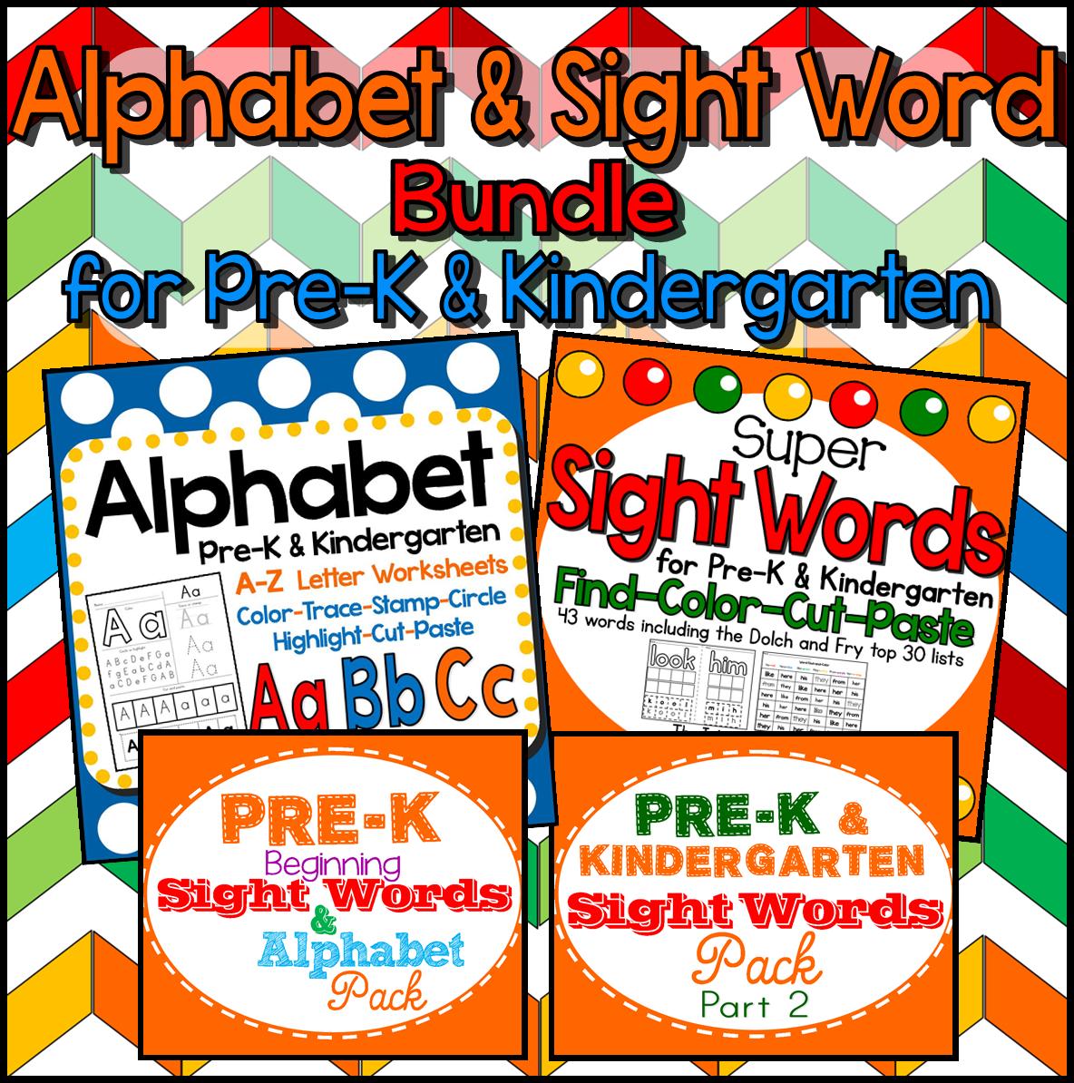 tpt worksheets pre-k kindergarten dolch fry ELA