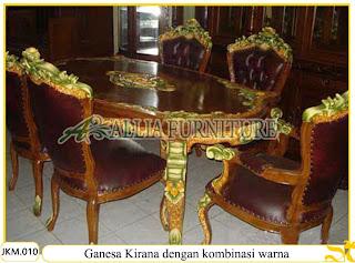 Kursi dan Meja Makan Kayu Jati dengan kombinasi Warna Ukiran Ganesa Kirana