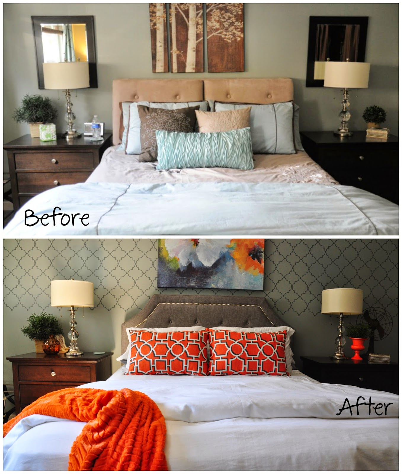 Before and after of a master bedroom makeover from blue and brown to gray and orange :: OrganizingMadeFun.com
