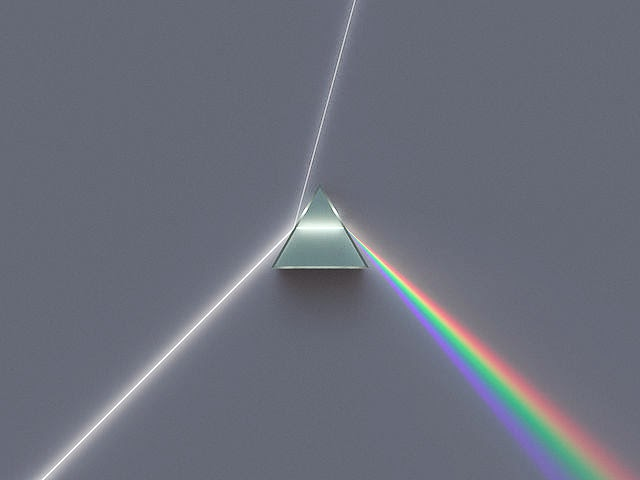 Dispersión de los colores de la luz blanca a través de un prisma.