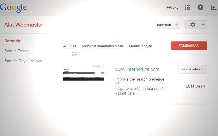 Tampilan Webmaster Tools