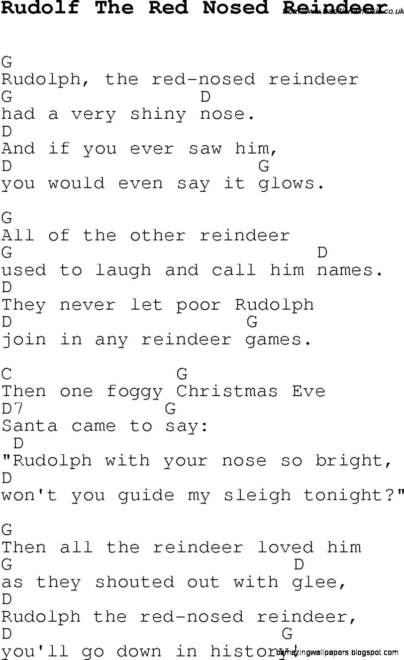 Christmas CarolSong lyrics with chords for Rudolf The Red Nosed