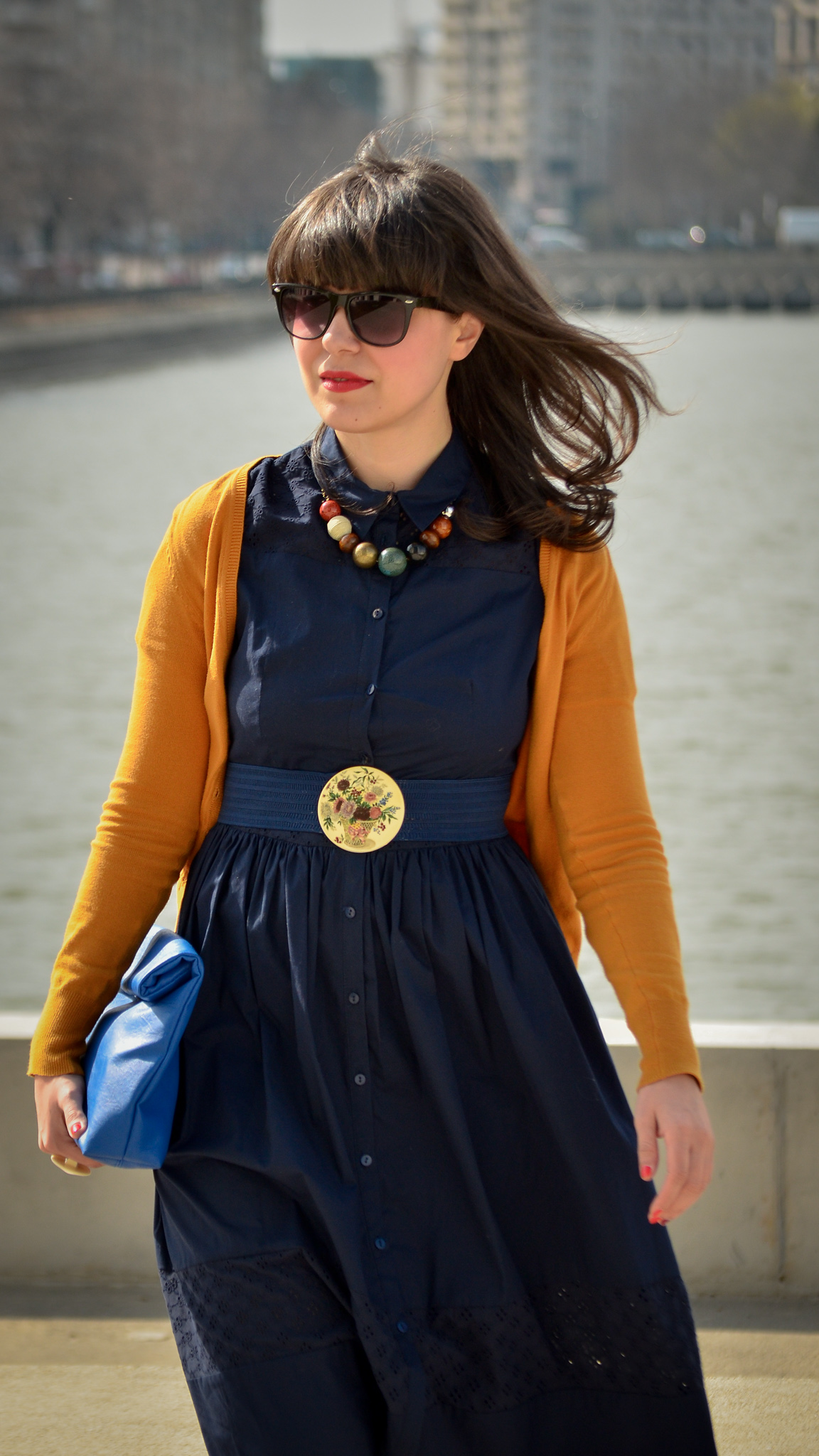 spring outfit navy dress 50s style mustard cardigan c&a thrifted belt cobalt blue clutch new yorker poema mustard heels