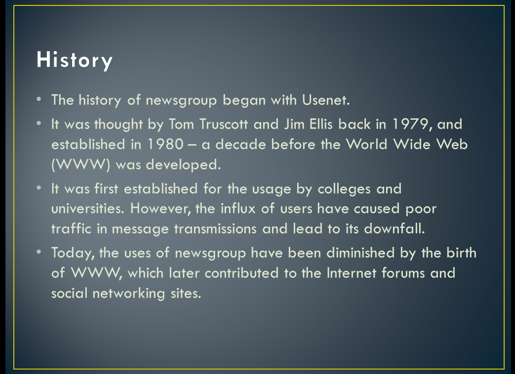 newsgroup paper research usenet writing Evolution of usenet : first file sharing network someone on the early usenet created a newsgroup for something paper writing tips: how to make a research.