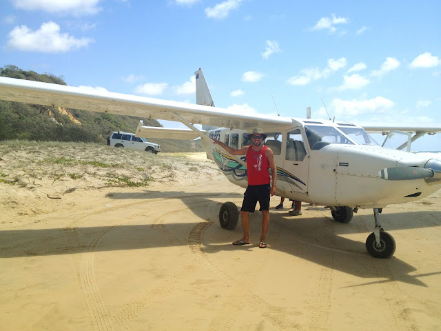 On the beach with the plane, Fraser Island
