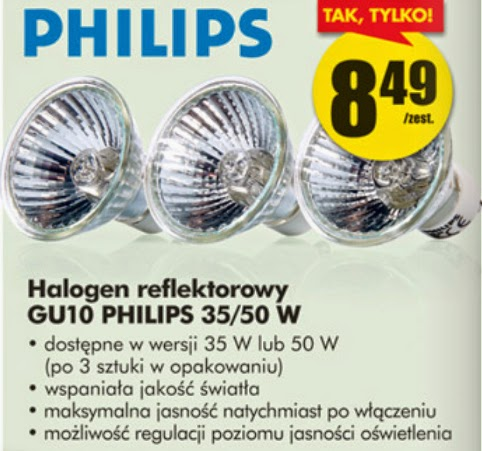 Halogen reflektorowy Philips z Biedronki ulotka