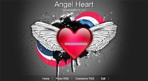 Free Angel Heart Black Web2.0 Blogger Template