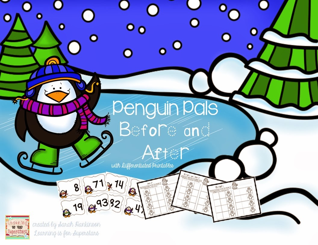 http://www.teacherspayteachers.com/Product/Penguin-Pals-before-and-after-cards-with-differentiated-printables-1069287