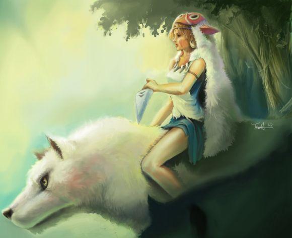 Francis Tneh deviantart ilustrações mulheres fantasia Princesa Mononoke