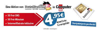 Deutschlandsim: 50 Freiminuten, 50 Frei-SMS, 200 MB Surfflat für 4,95 Euro (monatlich kündbar, keine Anschlussgebühr)