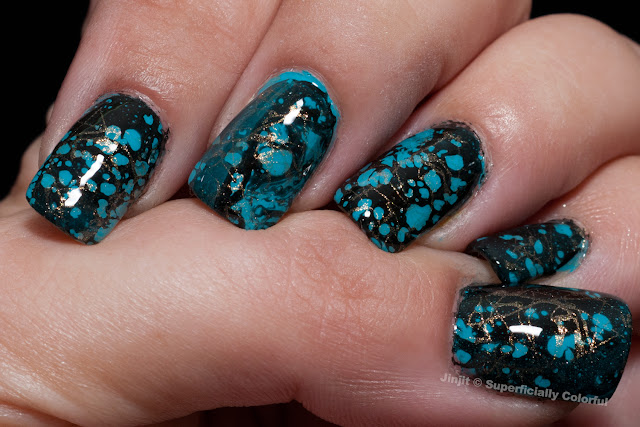 Spray Marble Turquoise Gemstone manicure