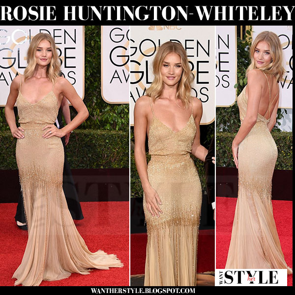 Rosie Huntington-Whiteley in gold sequin slip style versace gown golden globes red carpet what she wore
