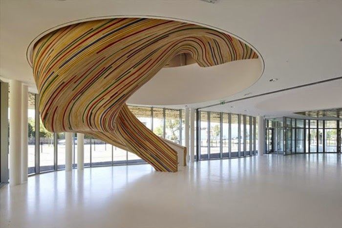 wood forming intricate twists stairs