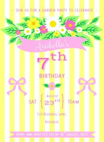 lemon yellow pink floral stripe birthday invitation boho vintage modern
