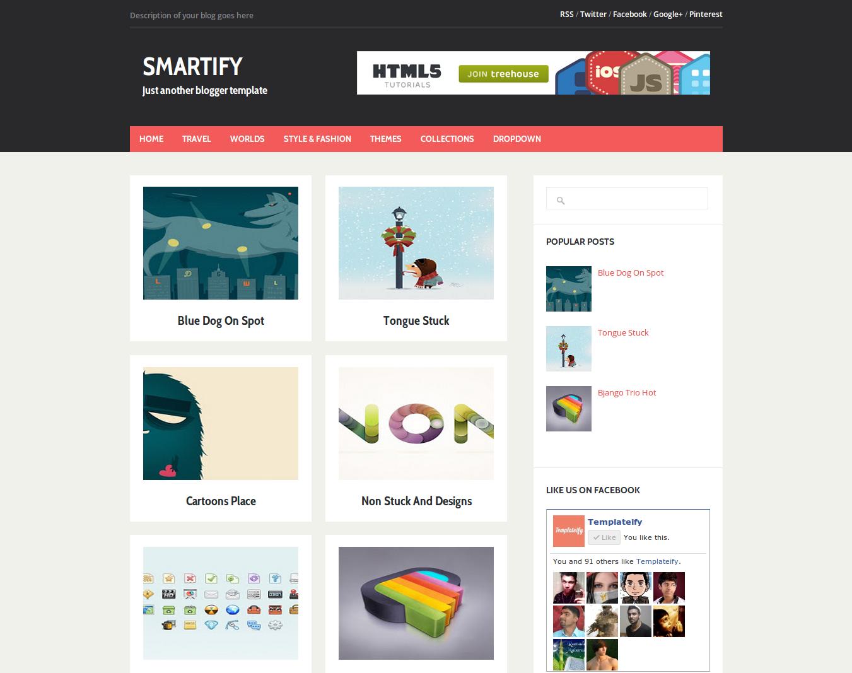 Smartify Flat Ui Portfolio Gallery Blogger Template Free Download