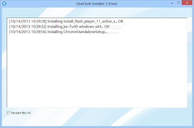 OneClick! Installer memberikan laporan kemajuan rinci tentang paket yang sedang diinstal.