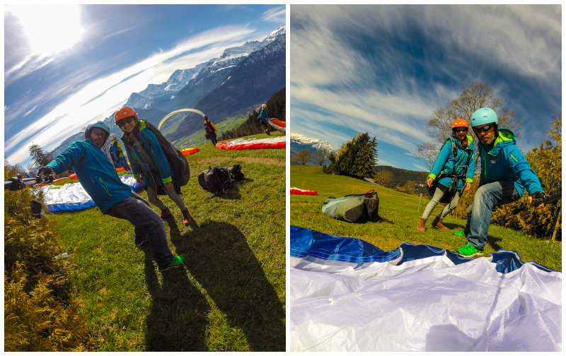 At the top of the mountain with my paragliding guide in interlaken switzerland
