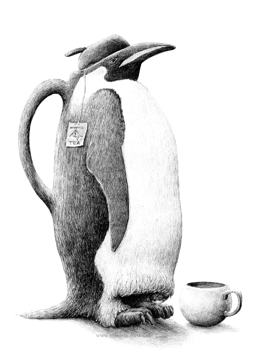 05-Penguin-Teapot-Redmer-Hoekstra-Drawing-Fantastic-and-Surreal-World-of-Hoekstra-www-designstack-co
