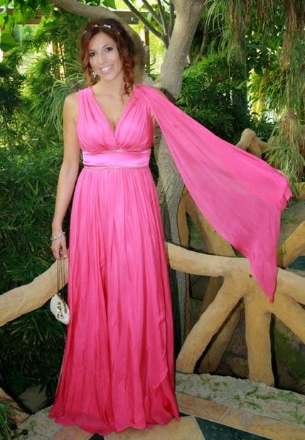 vestido estilo griego rosa