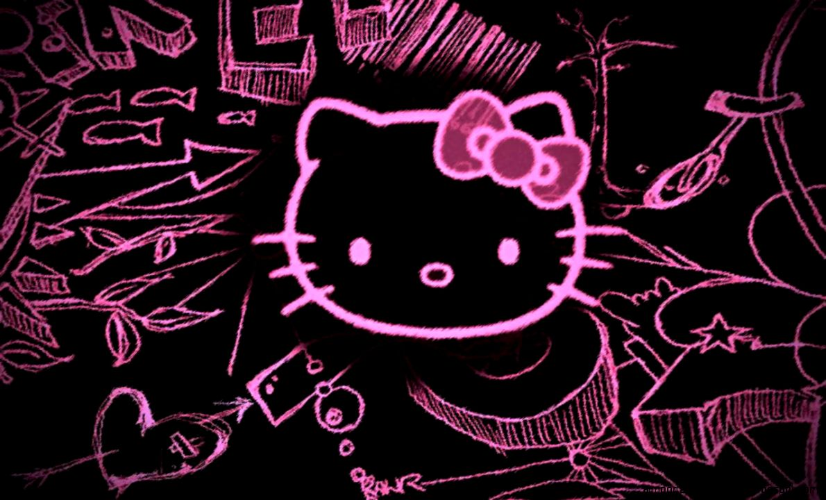 Hello Kitty Black Background Desktop Wallpaper | Important ...