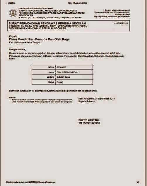 Contoh Surat Permohonan Pengawas Sekolah