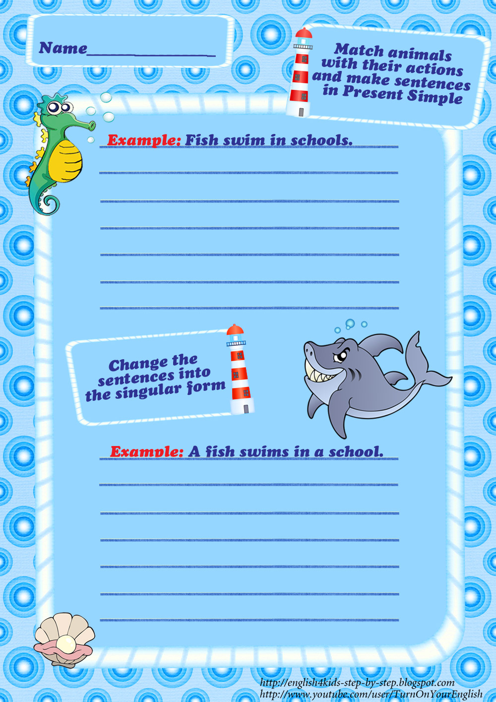 Fancy Ocean Animals Vocabulary Worksheets For Kids Sea Match Image ...