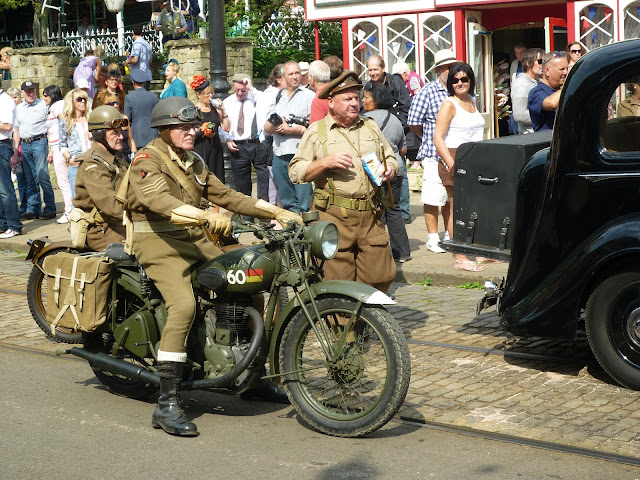 soldiers motorbike wwii re-enactment crich