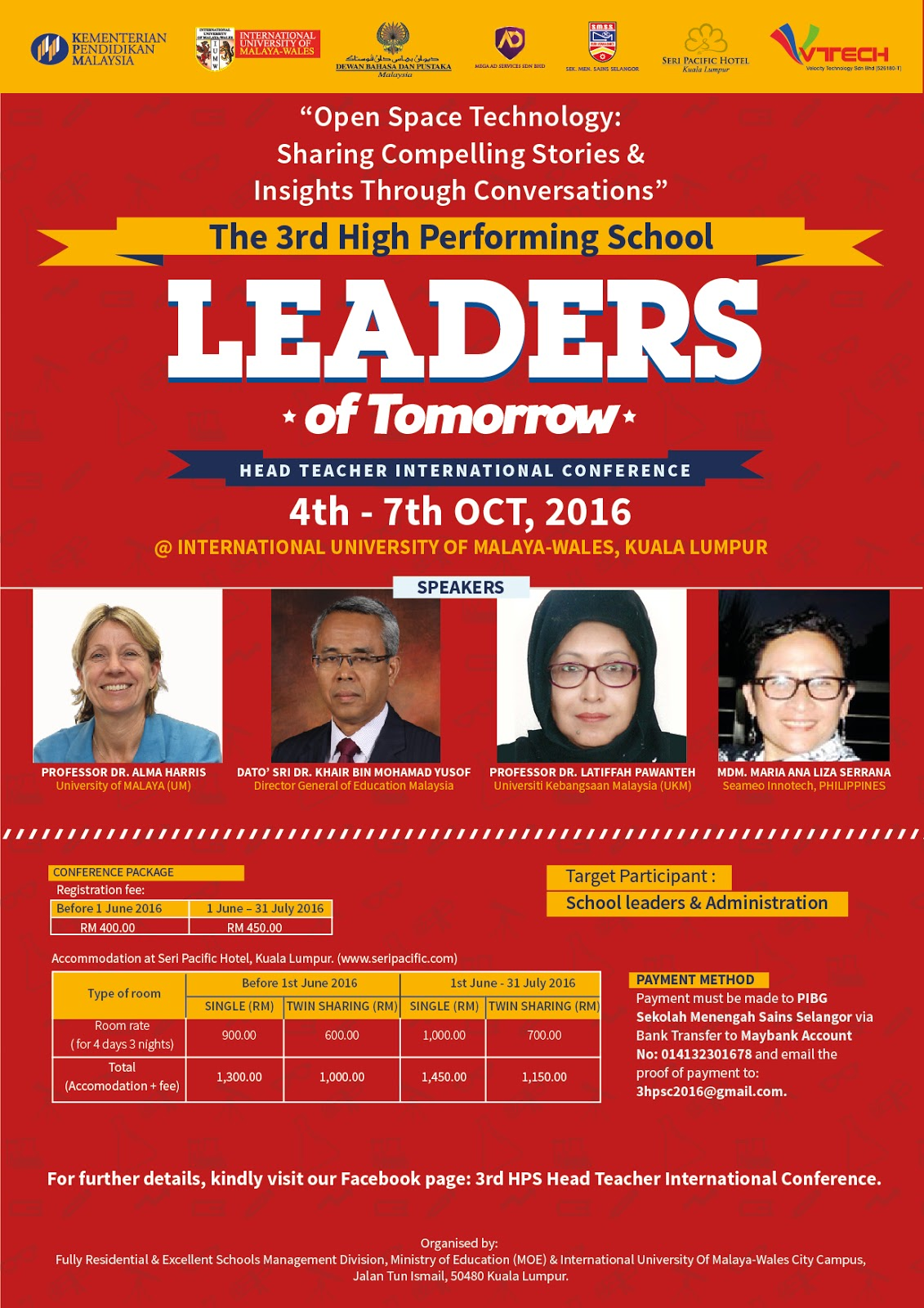 JANGAN LEPASKAN PELUANG!!! 3rd High Performing School Head Teacher International Conference