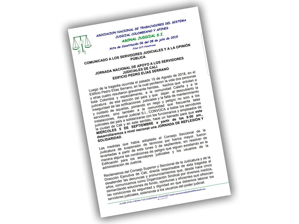 JORNADA NACIONAL DE APOYO A LOS SERVIDORES JUDICIALES DE CALI EDIFICIO PEDRO ELÍAS SERRANO