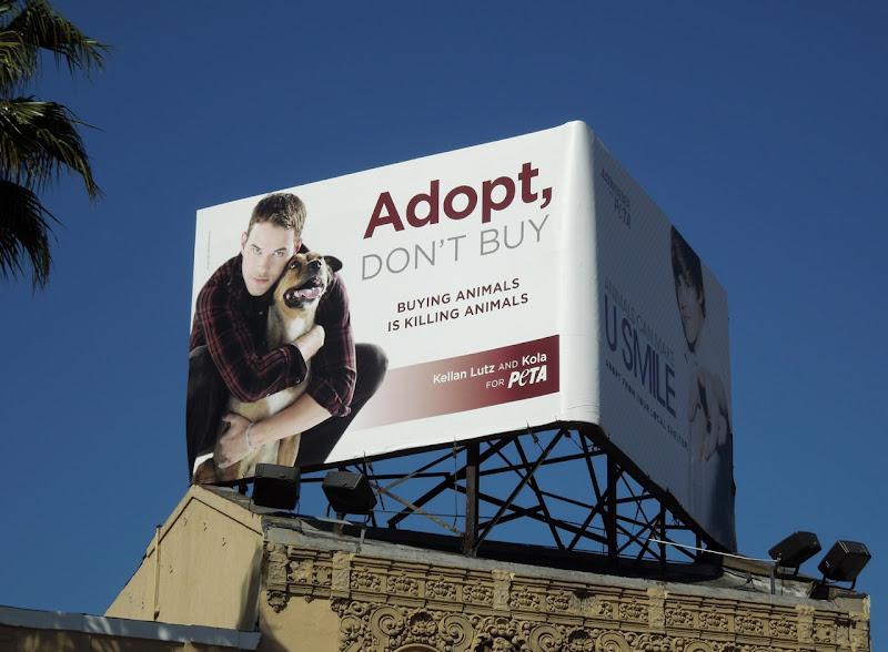 Kellan Lutz PETA adopt billboard
