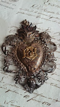 EXQUISITE ANTIQUE FRENCH TIMEWORN EX VOTO SACRE COEUR HEART & CHERUB 19th C