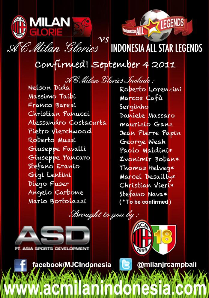 Daftar Skuad AC Milan Glorie Vs Indonesia All Star Legend