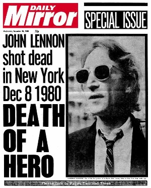 John Lennon - Death of a hero tabloid paper