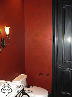 metallic red walls, red walls, black trim