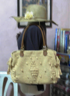 Crochet Bag leather handles