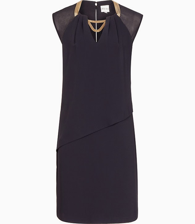reiss navy dress, navy dress gold necklace,