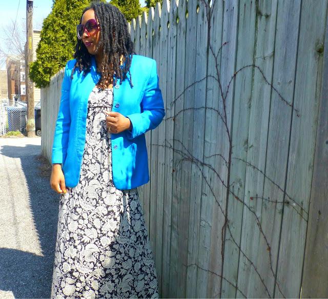 maxi dress and blazer