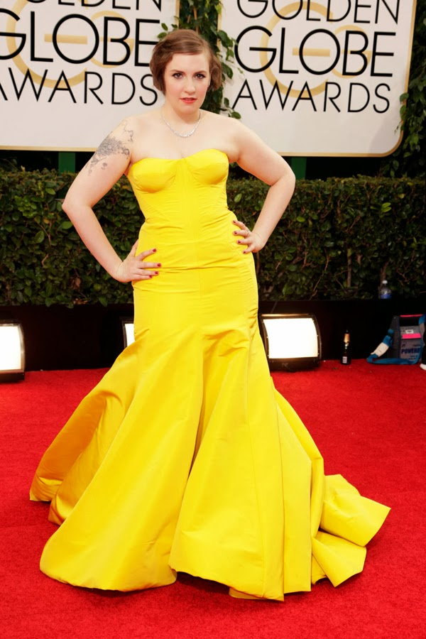 2014 Golden Globes Lena Dunham in Zac Posen