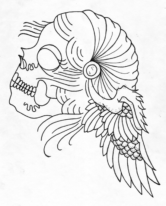 Traditional Tattoo Line Drawing : Griffe tattoo cigana