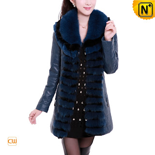 Women Blue Sheepskin Coat