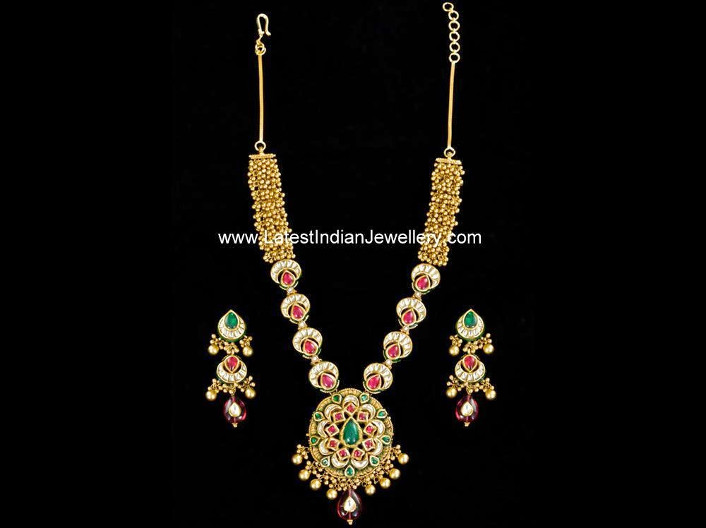 indian antique gold kundan necklace