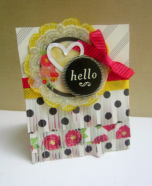 American Crafts Mayberry card for The Scrapbooking Studio - how to use fringe scissors on a card