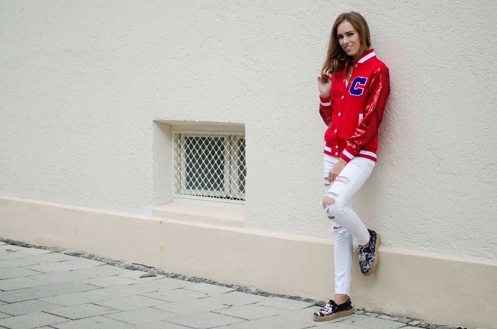 kristjaana mere red sequin bomber jacket white ripped jeans sequin espadrilles