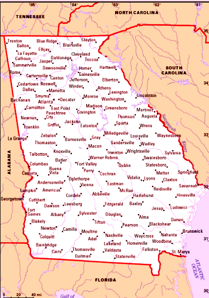 Georgia Map Of Cities And Towns - Georgia map with cities and towns