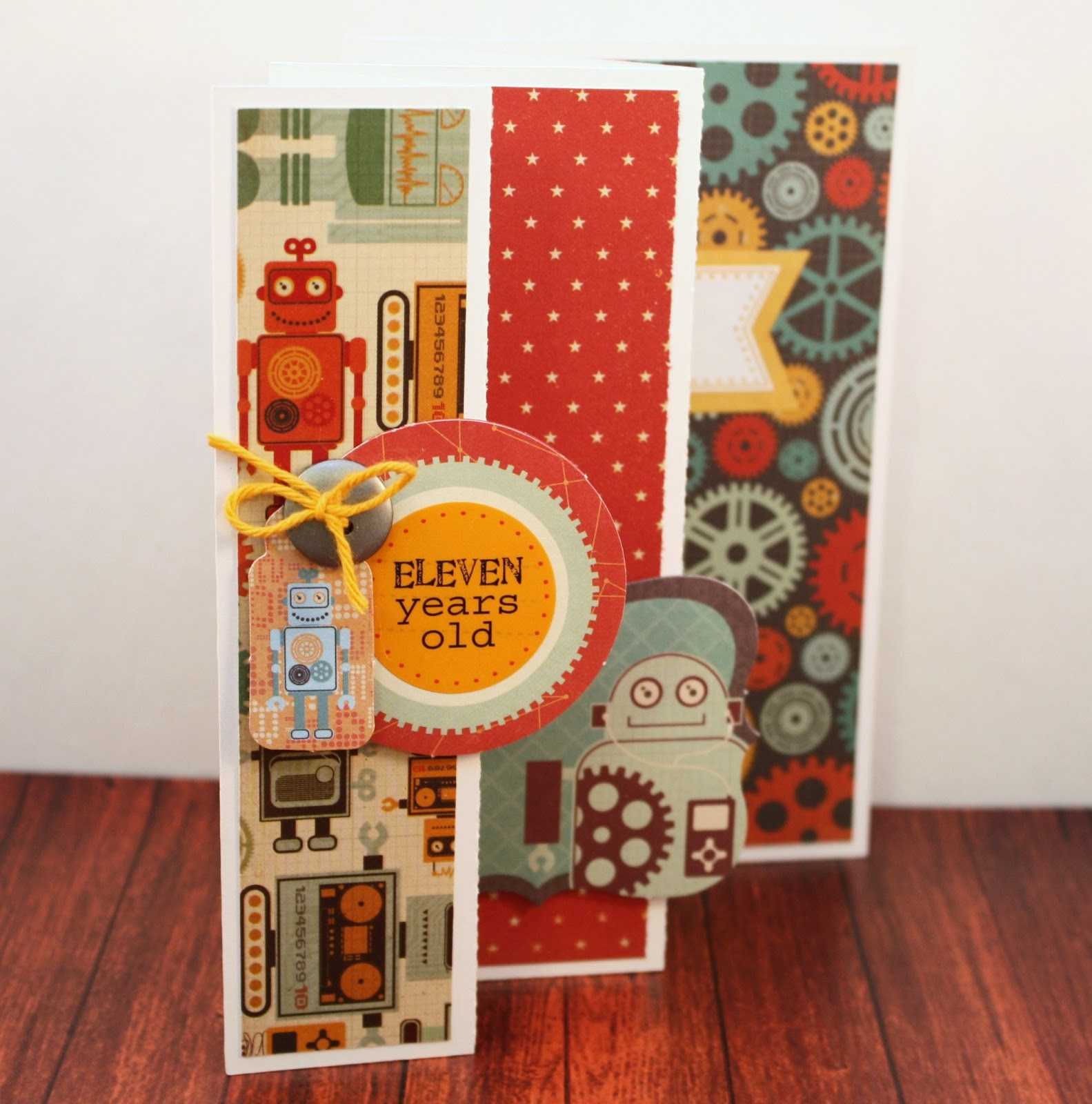 bits of paper accordion folded card eleven years old birthday card