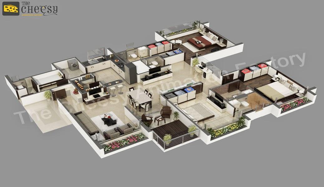 3D Floor Plan | 3D Home Floor Plan: The Cheesy Animation-Home