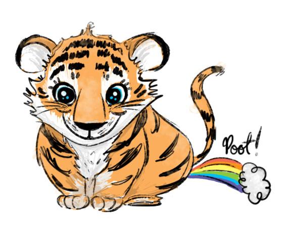 El tigre se tira un pedo y las bolas se le contraen