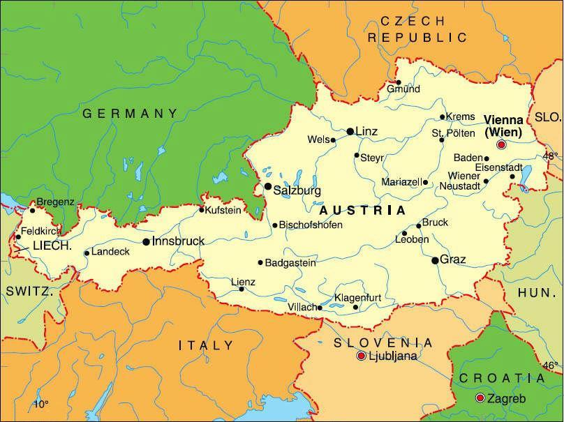 Map Of Austria And Surrounding Countries - Germany map and surrounding countries