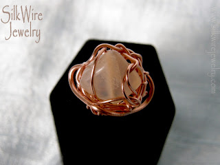 moonstone gemstone, copper wire ring, SilkWire Jewelry
